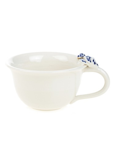 BeMade Yaprak Kulplu Çay Fincan Beyaz
